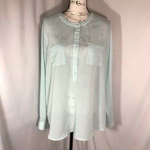 Old Navy Long Sleeve Button Down Blouse Sz XL
